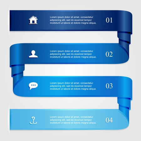 Blue curled infographic ribbons, numbered options, modern design, business options banner, can be used for diagram, illustration  Vector