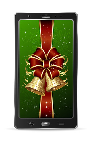 Realistic mobile phone with red bow and Christmas bells, illustration  Vector