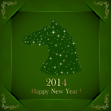 Green New Years background with horse from stars and golden floral elements, illustration  Stock Vector - 23858580