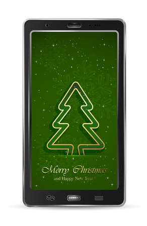Realistic mobile phone with paper Christmas tree on green background, illustration  Vector