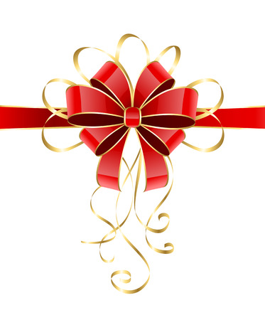 st valentin: Red holiday bow with golden tinsel isolated on white background, illustration
