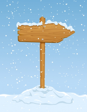 Wooden sign with falling snow on blue sky background, illustration  Vector
