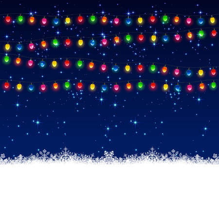Christmas electric garland with stars on sky background, illustration  Vector