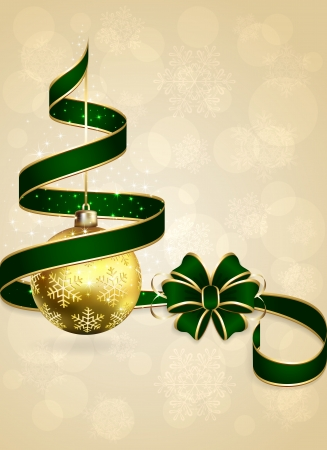Christmas background with green bow, ribbon and golden balls, illustration