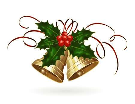 Golden Christmas bells with Holly berries and tinsel, illustration  일러스트