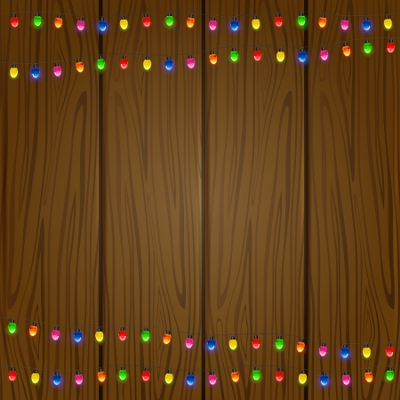 Wooden background with colored light bulbs, illustration  Vector