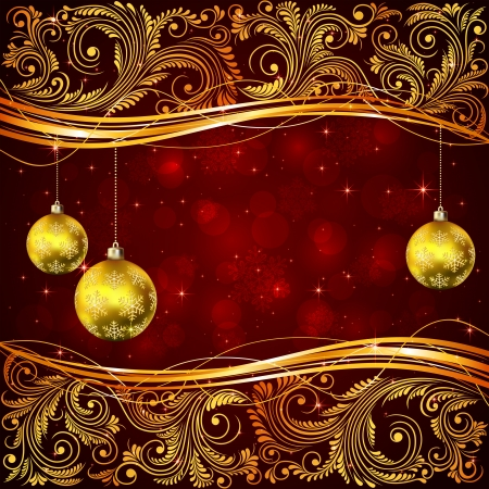 Red Christmas background with Santa and floral elements, illustration  Vector