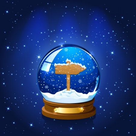 Christmas Snow globe with wooden sign, stars and the falling snow, illustration  Vector