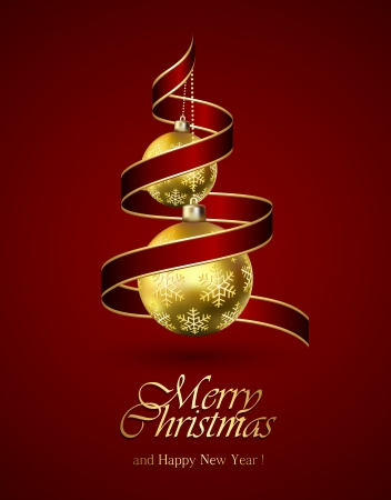 Red Christmas background with ribbon and golden balls, illustration  Vector