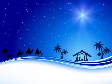 reyes magos: Noche de Navidad cristiana con el brillo de la estrella, ilustración Vectores