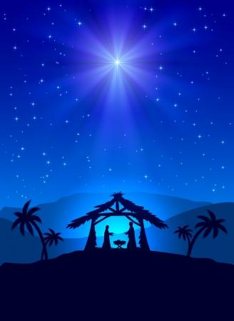 빛나는 스타와 예수, 그림 기독교 크리스마스 밤 일러스트
