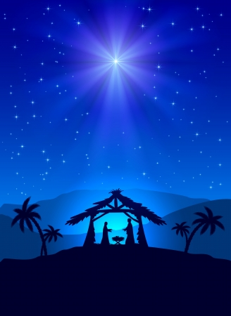 nativity scene: Christian Christmas night with shining star and Jesus, illustration  Illustration