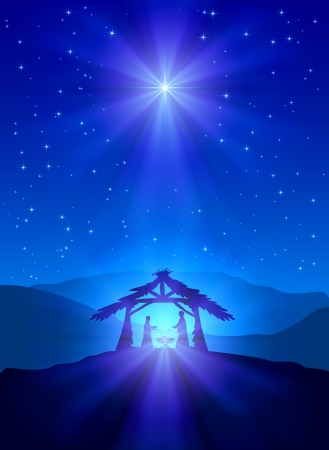 nascita di gesu: Christian notte di Natale con la stella splendente e Gesù, illustrazione