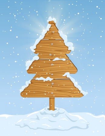 Wooden sign in the form of Christmas tree with falling snow on blue sky background, illustration  Vector