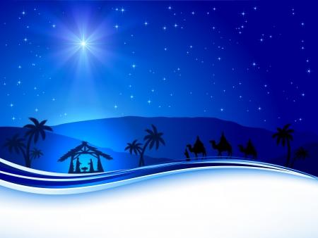 jesus birth: Noche cristiana de Navidad con estrella brillante, ilustración
