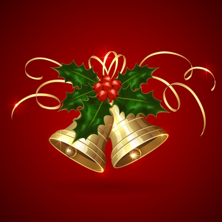 Golden Christmas bells with Holly berries and tinsel on red background, illustration  Vector