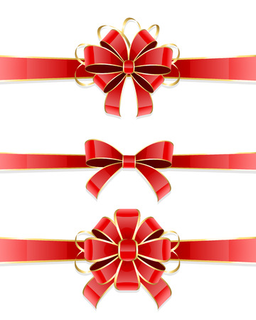 christmas bow: Set of three red bow isolated on white background, illustration