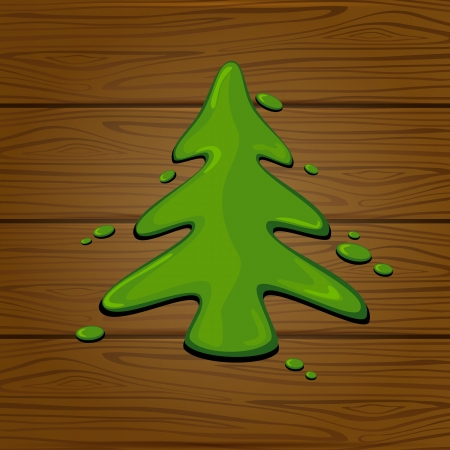 The green painted Christmas tree on a wooden background, illustration Stock Vector - 24205248