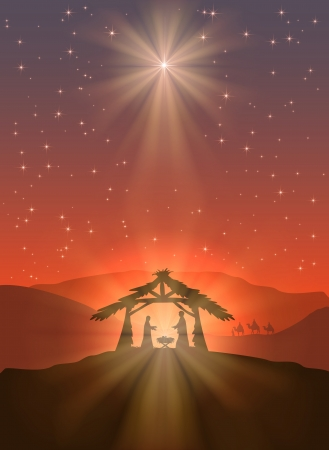 Christian Christmas scene with shining star and birth of Jesus, illustration