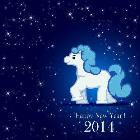Little horse on blue background and stars, illustration Stock Vector - 24248014