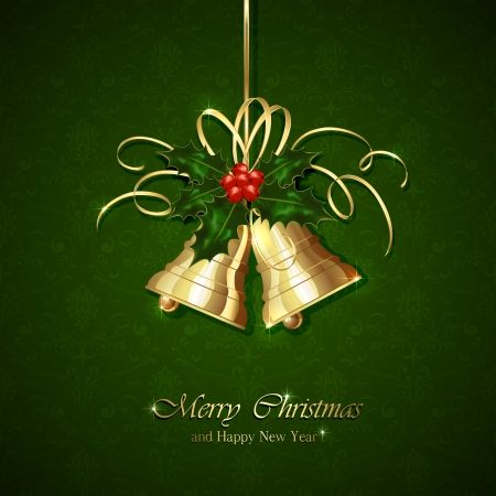 Golden Christmas bells with Holly berries and tinsel on green seamless background, illustration  Illustration