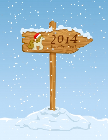 Wooden sign with horse on snowy background, illustration  Vector