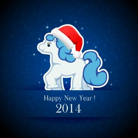 Little horse on blue grunge background, illustration  Vector