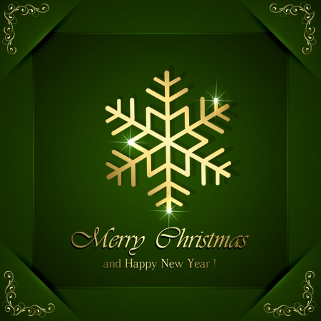 Christmas snowflake on green background with ornate elements in corners, illustration  Vector
