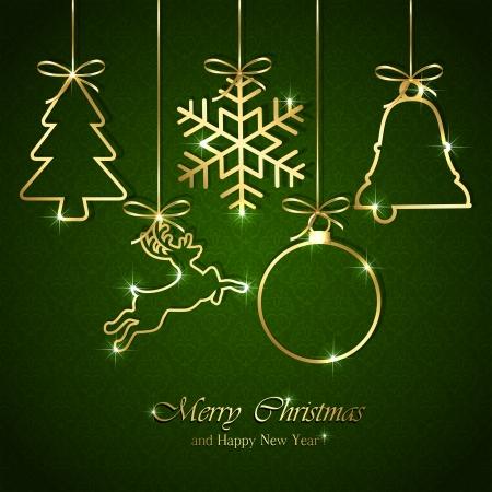 renos de navidad: Elementos de oro de la Navidad en verde sin fisuras de fondo, ilustración