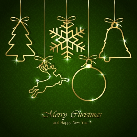 baubles: Golden Christmas elements on seamless green background, illustration
