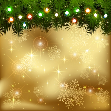 Golden background with branches of Christmas tree and multicolored light bulbs, illustration