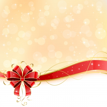 st valentin: Christmas background with shiny red bow, illustration