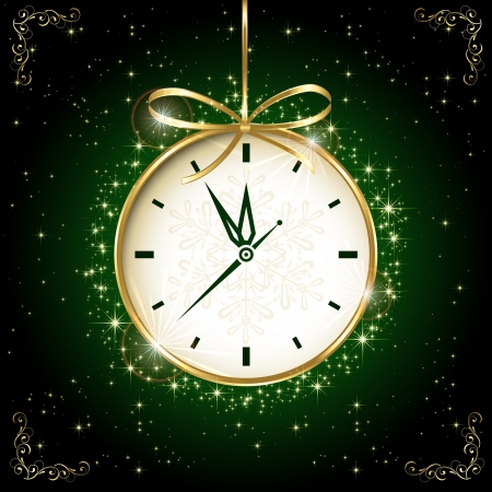 happy hours: Clock with bow on green background, illustration