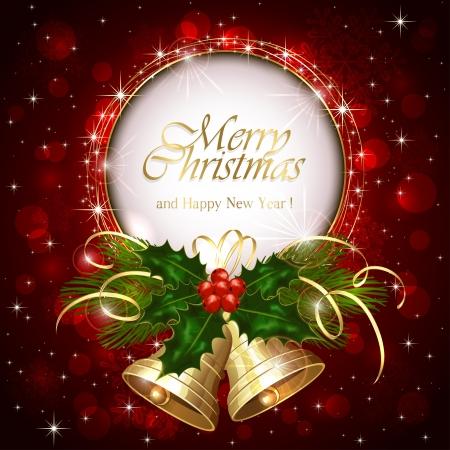 campanas de navidad: Fondo con las alarmas de Navidad y bayas de acebo, ilustraci�n