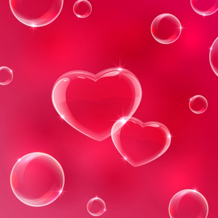 Red Valentines background with soap bubbles in the form of Hearts, illustration   Ilustracja