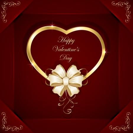 Red valentines background with golden heart and beige bow, illustration  Vector