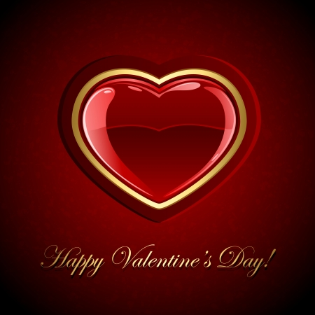 st valentin: Red valentines background with glossy heart, illustration