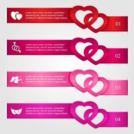 Set of infographics with hearts and icons, numbered options, modern design, business options banner, illustration  Vector
