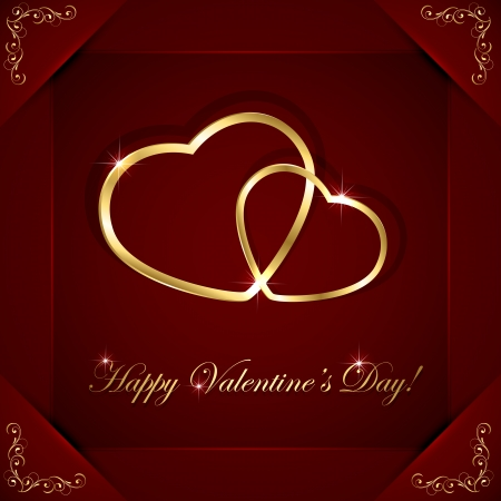 february 14th: Red valentines background with two golden hearts, illustration  Illustration