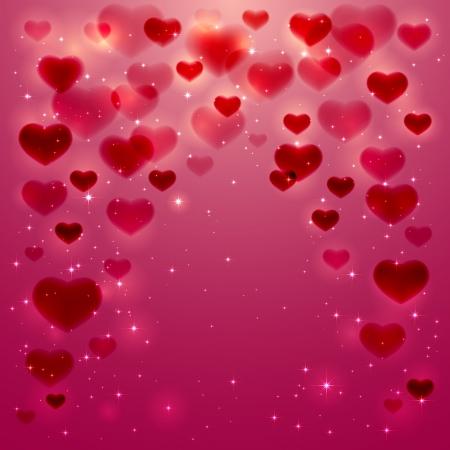Roze achtergrond met glanzende wazige harten, illustratie