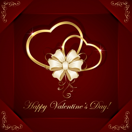 Red valentines background with two golden hearts and bow, illustration  Vector