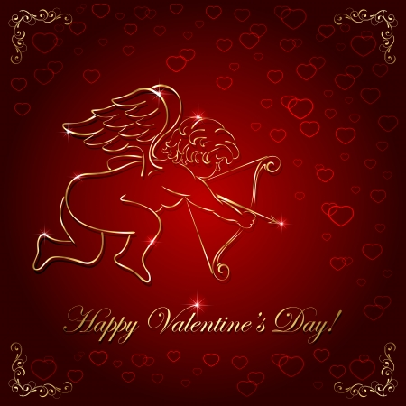 Red valentines background with golden cupid, illustration  Vector