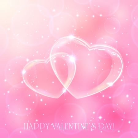 Two shinny hearts on pink background with stars, illustration
