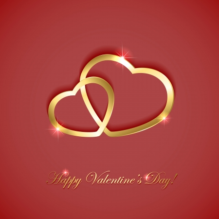 st valentin: Pink valentines background with two golden hearts, illustration