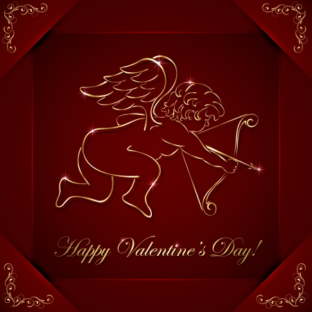 Red valentines background with golden cupid and floral elements, illustration  Vector