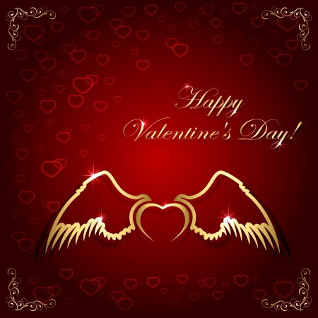 heart with wings: Red valentines background and golden heart with wings, illustration
