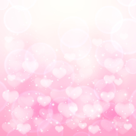 Pink background with transparent hearts and shiny stars, illustration