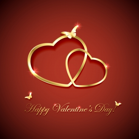 Red valentines background with two golden hearts and butterflies, illustration  Vector
