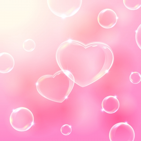 Pink valentines background with soap bubbles in the form of Hearts, illustration   Illustration
