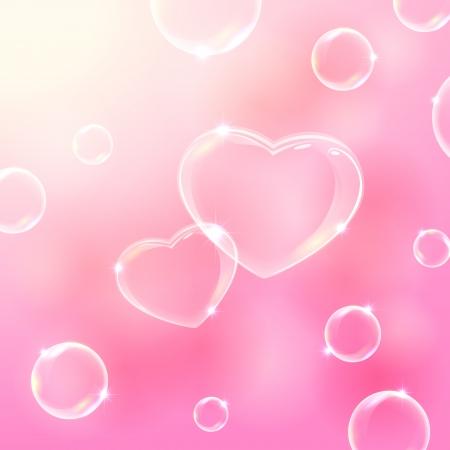 burbuja: San Valentín rosa de fondo con las burbujas de jabón en forma de corazones, ilustración